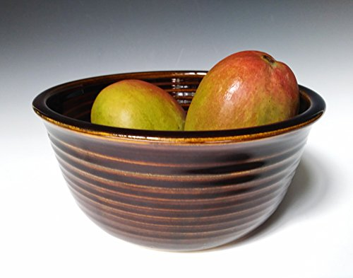 Handmade Serving/Mixing Bowl~ Stoneware Ceramic Pottery Dish ~ Kitchen Dinnerware ~ Glossy Brown