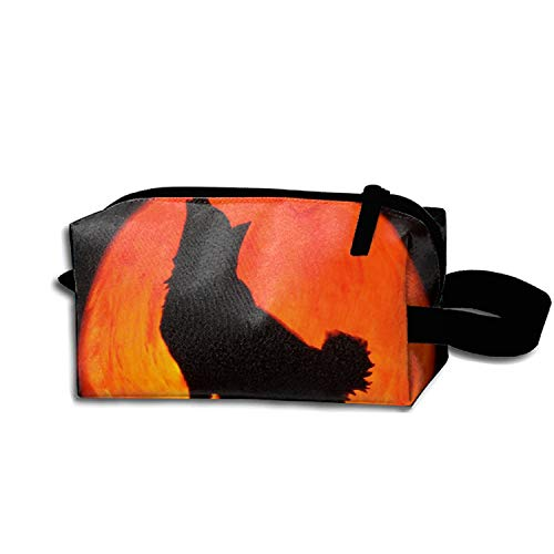 Travel Makeup Bag Case for Women Halloween Howling Wolf Storage Cosmetic -