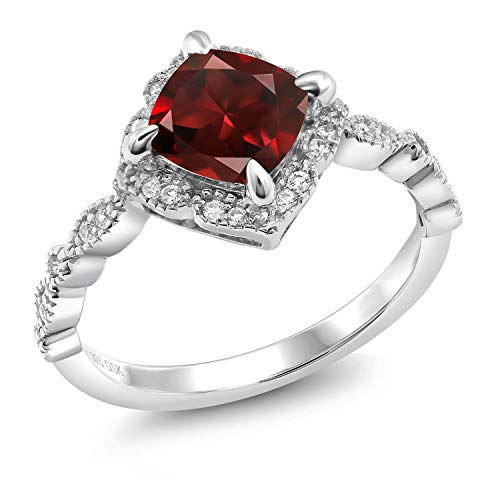 Gem Stone King 925 Platinum Plated Sterling Silver Red Garnet Women's Ring (2.19 Cttw Cushion Cut Gemstone Birthstone Available in size 5, 6, 7, 8, 9) ()