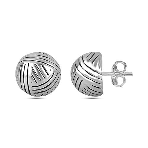 LeCalla Sterling Silver Jewelry Italian Design Light Weight Love Knot Antique Stud Earrings for Women