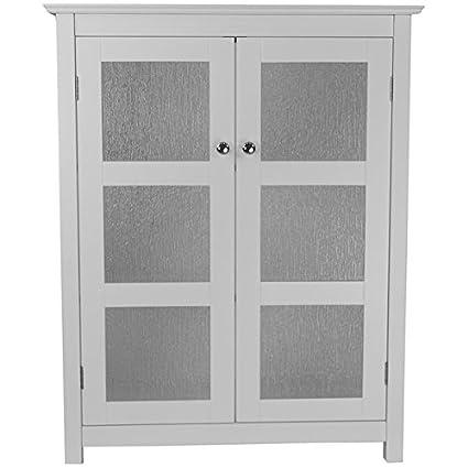 Amazon Highland White Double Glass Door Floor Cabinet Kitchen