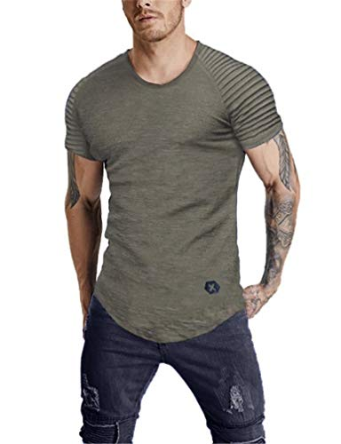 8f0923bb246d LeaLac Athletic Casual Cotton Crew Neck Short Sleeve Jersey Curved Hem T  Shirt for Men L285-151 Gray XL