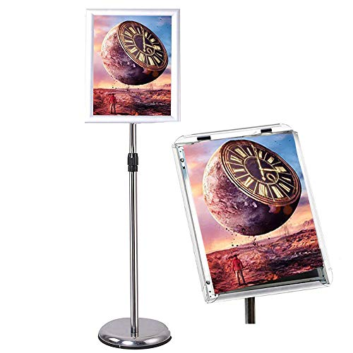 - GUOHONG Sign Holder Aluminum Poster Stand , Adjustable Stand Height, Poster Frame Revolvable To Either Horizontal or Vertical View Display, Round Base (silver 8.5x11 inches)