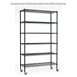6 Tier Heavy Duty 82x48x18 Layer Wire Shelving Rack Steel Shelf Adjustable Commercial Grade Construction Wire Durable Castor Wheels - NSF Rated Black Finish #1301b