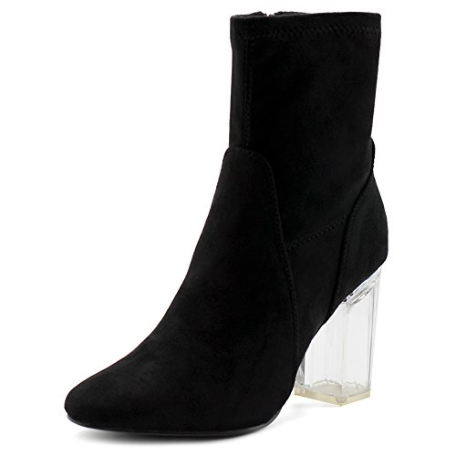 Heel Platform Boots Stack (Ollio Women's Shoe Stetch Faux Suede Side Zip Up Clear High Heel Ankle Boots MG50(7 B(M) US, Black))