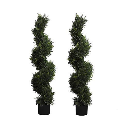 Armada Topiary Trees Spiral Plant Toparies Tree Boxwood Green Plants Artificial Faux Fake Indoor Outdoor Home Decor in Plastic Pot Set of 2 (47 Inch)