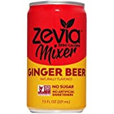 Zevia—Ginger Beer—7.5 oz. Can (12 Count)—Zero Calories or Sugar, Naturally Sweetened with Stevia Leaf Extract —A Perfect Drink Mixer