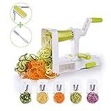 Vegetable Noodle Maker Spiral Slicer 5 Blades Foldable Strong Suction Base with Peeler & Cleaning Brush Vegetti Spiral Slicer by Domserv 2018 New Model