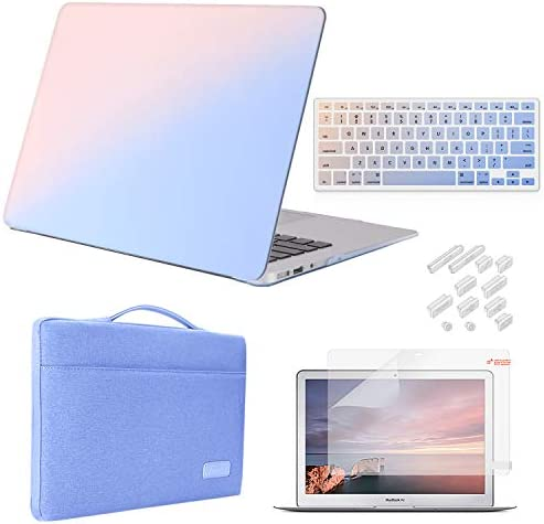 iCasso Case Compatible with MacBook Air 13 inch Case 2010-2017 Release Model A1369/A1466 Bundle Set, Plastic Hard Case Shell, Sleeve Bag, Screen Protector, Keyboard Cover and Dust Plug - Gradient