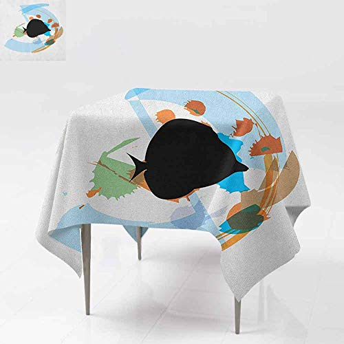 AndyTours Spill-Proof Table Cover,Fish,Silhouette of a Discus Cichlid in a Partly Illustrated Bowl Cartoon in Pastel Colors,Table Cover for Kitchen Dinning Tabletop Decoratio,70x70 Inch ()