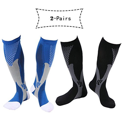 Atous Compression Socks for Men Women Fit for Athletic Sport Running Cycling Football Pack of 2 Pairs (Black+Blue, (Bike Athletic Football)