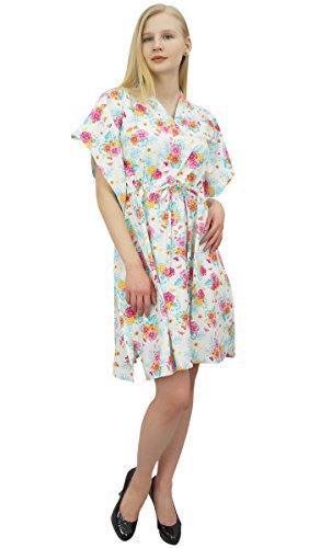 Robe Court Fminin Floral Blanc Coton Imprim Phagun Coverup t Kaftan wT4a7nq8