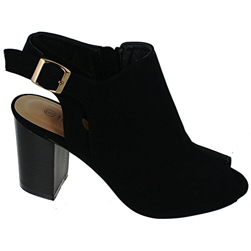 Top Moda ED62 Women's High Stacked Heel Open Back Ankle Strap Booties