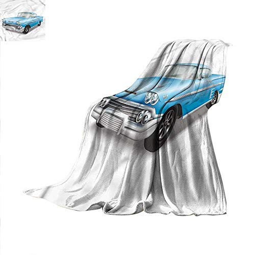 Boys Room Throw Blanket Old Fashion Classic Car Warm Microfiber All Season Blanket for Bed or Couch 62