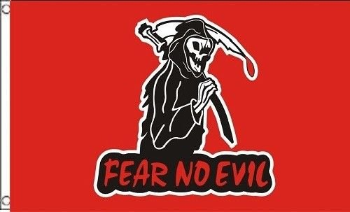 3 ft x 5 ft Fear NO Evil Flag (Red) 5in x 3in Skull Skeleton Pirate Grim Reaper Halloween for Home and Parades, Official Party, All Weather Indoors Outdoors]()