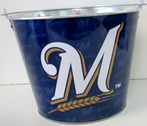MLB Officially Licensed Milwaukee Brewers Aluminum Ice Bucket Repeater Edition (Milwaukee Brewers Bucket)