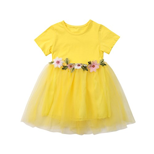 Mornbaby Toddler Kids Baby Girls Knitted Tulle Cap Tutu Dresses Jersey Dress Outfit (2-3years, Yellow/Short Sleeve) - Short Sleeve Tutu
