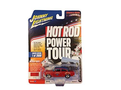 1955 Chevy 2 Door Sedan (Johnny Lightning JLMC007 Hot Rod 1955 Chevy 2 Door Sedan Ver B Custom Flat Red)
