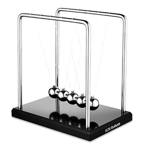 Newtons Cradle, 5 Pendulum Balls, Big Newtons Cradle Balance, Metal Balls For Office Toys, Physics Toys, Teacher Toys, Steel Ball Toy, Metal Ball Pendulum, Black Wooden]()