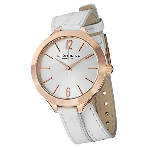 Stuhrling Original Women's 568.03 Deauville Sport Swiss Quartz White Leather Wrap Around Watch