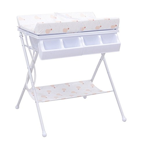 MD Group Baby Changing Table Foldable Steel White Cushioned Infant Bath Diaper Storage by MD Group