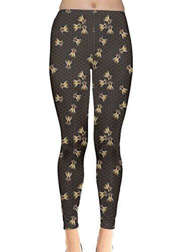Bee Tights - CowCow Womens Dark Gray Pattern Of The Bee On Honeycombs Leggings, Dark Gray - L