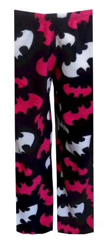 s DC Comics Batgirl Angel Fleece Black and Pink Lounge Pants (Large) ()