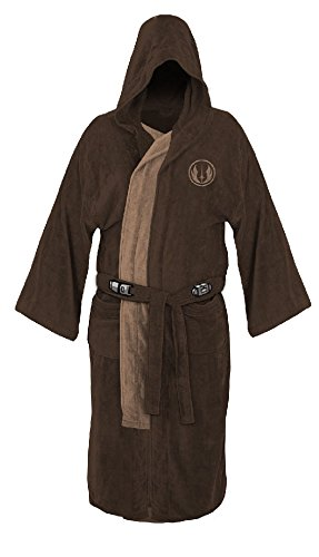 Star Wars Jedi Master Fleece Hooded Bathrobe Robe Brown -