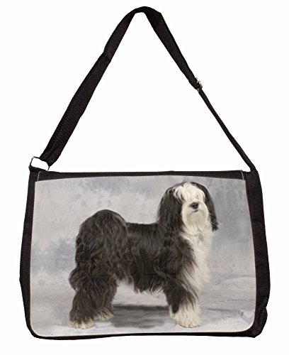 Tibetan Terrier Dog Large 16 Black School Laptop Shoulder Bag