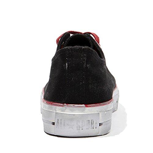 Nero Scarpe Sneakers Uomo Basse Traspiranti Nero Classiche da Sneakers Tela Comode z6FAqW