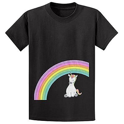 Chas U Is For Unicorn Rainbow Youth Crew Neck Short Sleeve T Shirt