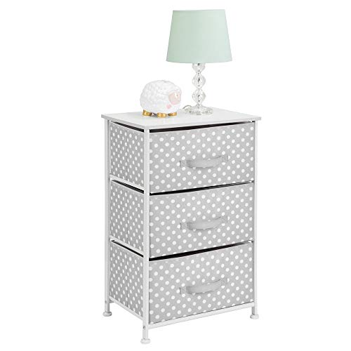 mDesign 3-Drawer Vertical Dresser Storage Tower - Sturdy Steel Frame, Wood Top and Easy Pull Fabric Bins - Multi-Bin Organizer Unit for Child/Kids Bedroom or Nursery - Light Gray with White Polka Dots