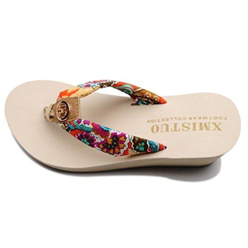 SHANGXIAN zapatillas antideslizantes de tacón alto de las mujeres de la cuña de la sandalia beige