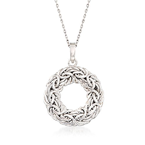 Ross-Simons Sterling Silver Byzantine Open Circle Pendant Necklace
