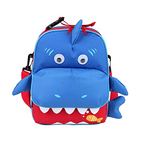 Yodo 3-Way Convertible Playful Insulated Kids Lunch Boxes Carry Bag/Preschool Toddler Backpack for Boys Girls, with Quick Access Front Pouch for Snacks, Shark