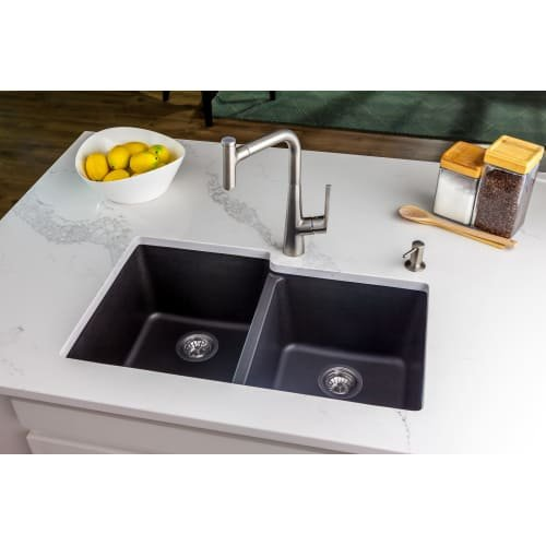 Hansgrohe 04872 SilicaTec 33'' Double Basin Granite Composite Kitchen Sink for Dr, Gilded Bronze by Hansgrohe