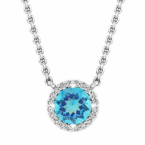 14K White Gold Round Blue Topaz And White Diamond Ladies Halo Pendant (Silver Chain Included) ()