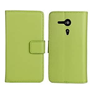 US Compass Cowskin Flip Leather Pouch Case Cover For Sony Xperia SP M35h Green