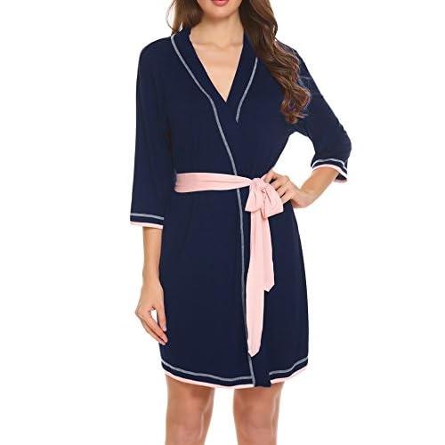 New Ekouaer Women's Robe Knit Bathrobe Soft Kimono Bride Robes Sleepwear S-XXL for sale