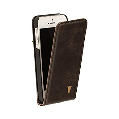 new product 1e8df 9c59b TORRO Premium Leather Flip Case compatible with iPhone SE. Genuine Dark  Brown Leather Flip Down Case for Apple iPhone SE, iPhone 5S and iPhone 5 -  ...