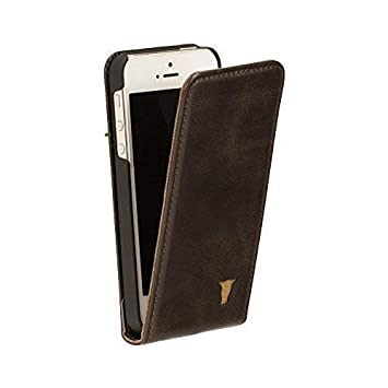 39c0f4f3a64 TORRO Funda Compatible con iPhone SE de Cuero Genuino con Apertura Vertical.  Carcasa Delgada con Tapa, Estilo Flip para Apple iPhone SE/iPhone 5 / iPhone  ...