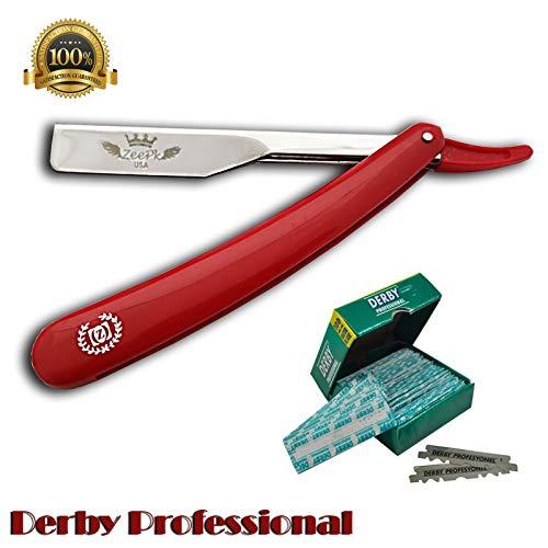 BARBER STRAIGHT RAZOR + 100 DERBY BLADES CUT THROAT Foldable Shaving Knife Beard Shaver RAPADA AFEITADO STAINLESS STEEL SALON SHAVETTE Navaja Rasurar Cuchilla Ustra (Red Razor -