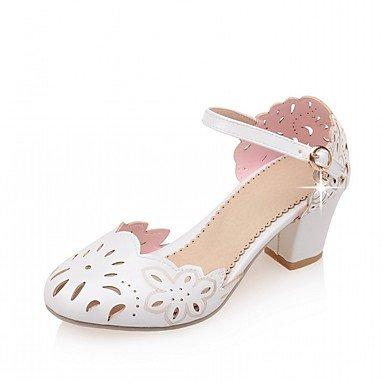 RUGAI-UE Moda de verano mujer sandalias casuales zapatos de tacones PU confort pasear al aire libre,Blue,US3.5 / UE33 / UK1.5 / CN32 White