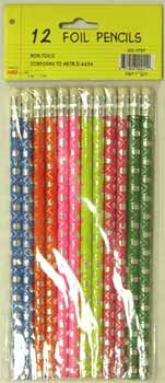 Foil Pencils - 12 pack - asst. designs 48 pcs sku# 92902MA by DDI