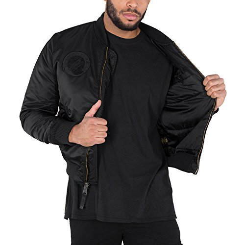 Verde MA de NASA VF Industries All Black Logo Hombre bombardero chaqueta 1 Alpha 6wqvax