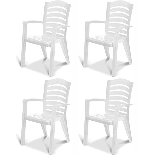 Stackable Armchair, Set of 4, Garden and Patio, Outdoor, Exe, Plascoline - Plastic Patio Chairs