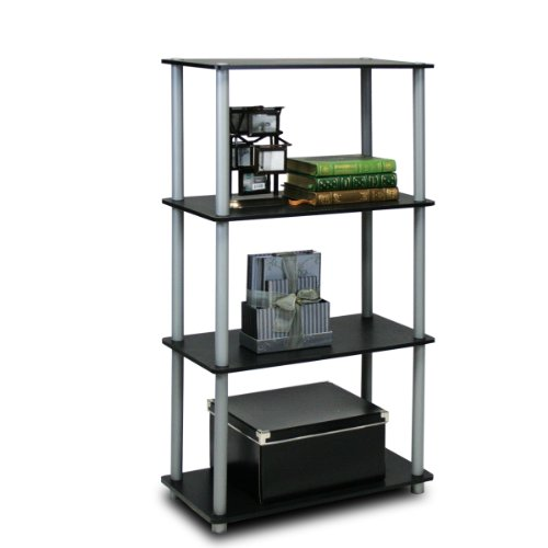 Furinno (99557BK/GY) Turn-N-Tube 4-Tier Multipurpose Shelf Display Rack - (Open Single Bookcase)