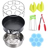 7-Piece Accessories for Instant - Silicone Egg Bites Mold, Non-Stick Springform Pan, Steamer Basket, Egg Steamer Rack, Silicone Kitchen Tongs, Mini Mitts Fits 5,6,8Qt Instant Pot Pressure Cooker