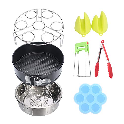 Non Stick Springform Pan Silicone Egg Bites Molds Steamer Basket Dish Clip Oven Mitts Chauder 7pcs Instant Pot Accessories Set Fits 5 6 8qt Egg Steamer Rack Silicone Kitchen Tongs Home Kitchen Cookware
