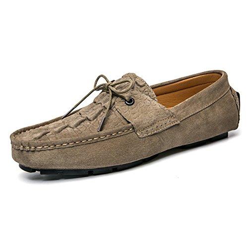 de Zapatos Casuales de Baja Caqui conducción de Cuero Zapatos Hombres para de Verano Ayuda 44AfnqCE